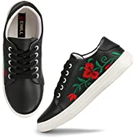Denill Latest Collection, Comfortable & Stylish Embroided Sneakers for Women's and Girl's Black