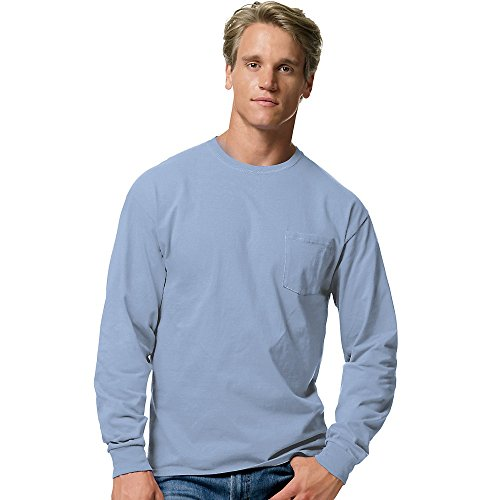 Hanes Tagless 6.1 oz Long-Sleeve with Pocket, Light Blue, - Stores New Jersey Outlets