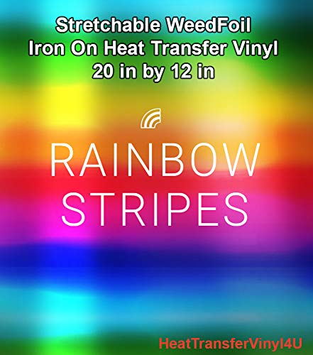 Stretchable WeedFoil Iron On Heat Transfer Vinyl 20 x 12 Sheets - Rainbow Stripes