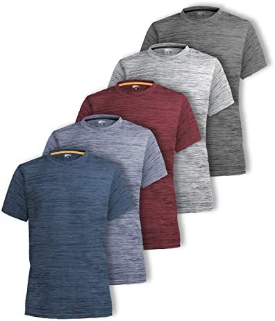 [5 Pack] Men's Dry-Fit Active Athletic Crew Neck T Shirts Running Workout Tee Top