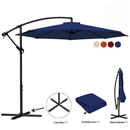 Cheap JEAREY Patio Umbrella 10 Ft Offset Cantilever Umbrella Outdoor Market Hanging Umbrellas & Crank with Cross Base, 8 Ribs(Navy Blue)