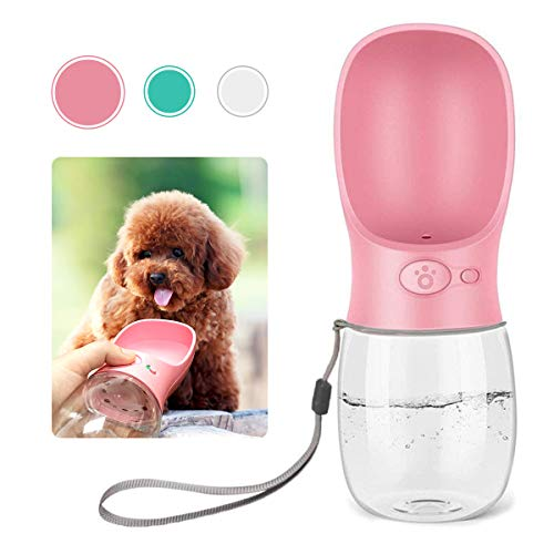 QQPETS Dog Water Bottle for Walking, Dispenser Pet Portable Dogs Cats 12OZ Travel Drink Bottle Bowls BPA Freee,Antibacterial,Leak Proof,Food Grade (Glamour Pink)