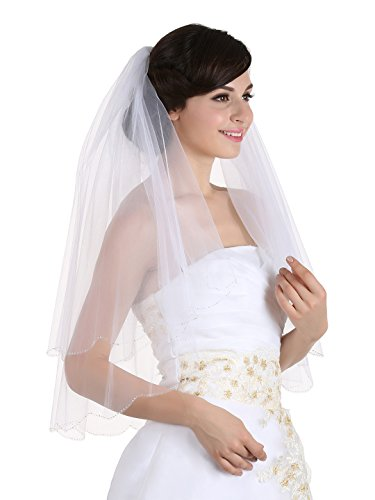 - 2T 2 Tier Silver AB Beaded Scallop Edge Bridal Wedding Veil - Ivory Elbow Length 30