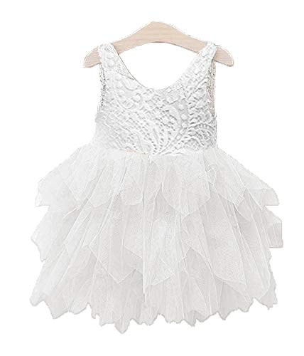 Topmaker Backless A-line Lace Back Flower Girl Dress (5Y, Non-Beads-White)