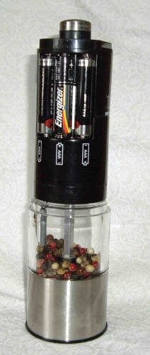 MIU France Stainless Steel Battery-Operated Peppermill with LED Light