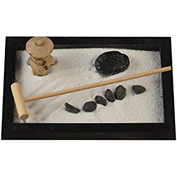 1511cm Tabletop Wooden Zen Sand Garden with Rocks, Sand, and Rake