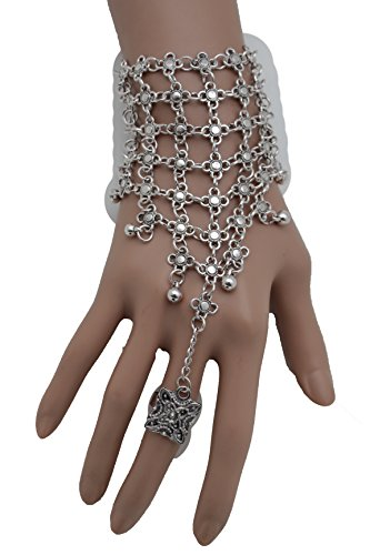 TFJ Women Silver Metal Hand Chain Slave Ring Connected Bracelet Flowers Charms (Biker Dude Halloween Costume)