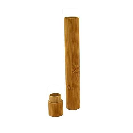 Fliyeong Soporte de bambú natural para cepillo de dientes, funda ...