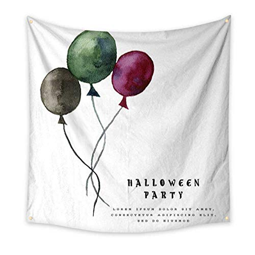 G Idle Sky Tapestry Multi-Purpose Decorative Wall Hanging Halloween Illustration with Balloons on White Background Bedspread Picnic Bedsheet Blanket Wall Art Tapestry 63