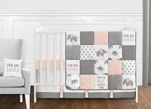 - Sweet Jojo Designs Blush Pink, Grey and White Watercolor Elephant Safari Baby Girl Crib Bedding Set Without Bumper - 11 Pieces