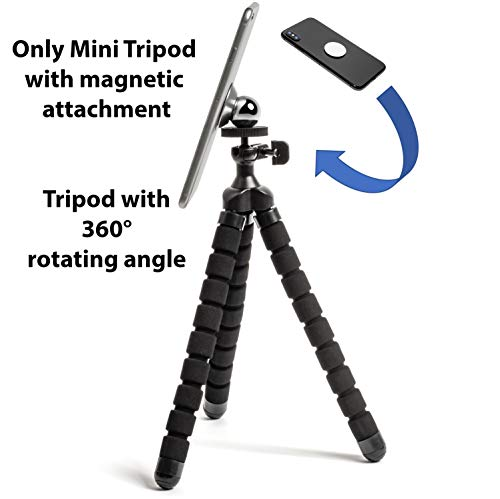 Paulex Flexible Mini Tripod for Smartphone, the Only with Magnetic Mechanism for Attaching, Included Also Wireless Remote Shutter and Dashboard Mount