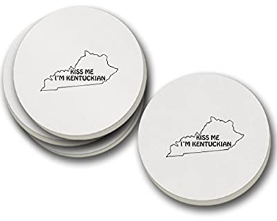 Kiss Me I Am Kentuckian Kentucky Sandstone Coasters Round Set of 4
