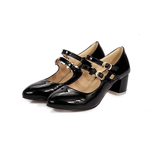 Black Buckle Toe Heels Kitten Womens Closed Pumps Round Leather Solid AllhqFashion Patent Shoes xq4w7AC