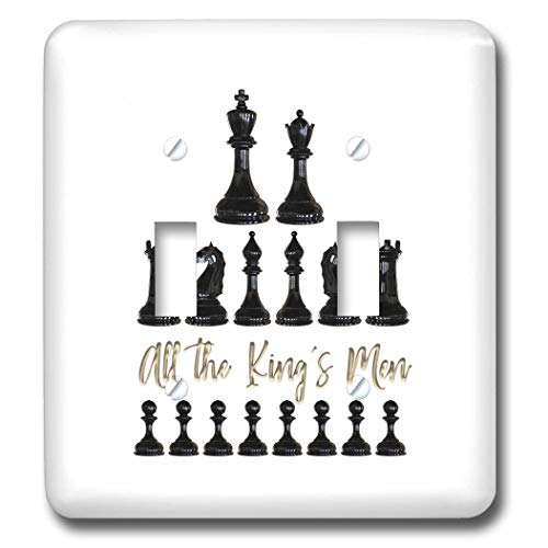 3dRose Alexis Design - Sport Chess - Set of black chessmen and a text All the kings men on white - Light Switch Covers - double toggle switch (lsp_302155_2)