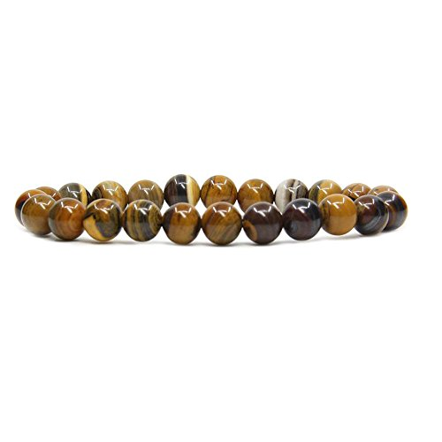 Zebra Jasper Bracelet - Amandastone Iron Zebra Jasper Gem Semi Precious Gemstone 8mm Ball Beads Stretch Bracelet 7
