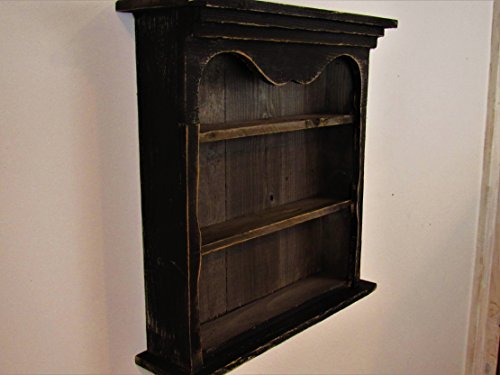 - Shabby Chic Style Black Wall Shelf, Distressed Wall shelf, Book Shelf, Distressed, French Country, Shadow Box, Display Case, CEDAR, HANDMADE