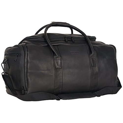 """41zdHgMaQiL - Kenneth Cole Reaction Duff Guy Colombian Leather 20"""" Single Compartment Top Load Travel Duffel Bag, Black"""