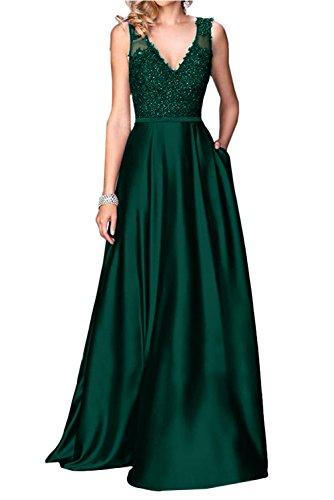 -neck Prom Evening Party Dresses Long Lace Formal Gowns-4-Dark Green (Lace Charmeuse Gown)