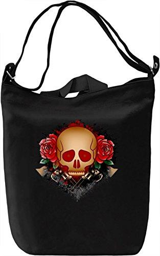 Skull With Guns Borsa Giornaliera Canvas Canvas Day Bag| 100% Premium Cotton Canvas| DTG Printing|