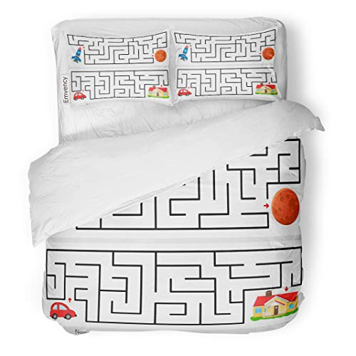 Semtomn Decor Duvet Cover Set Full/Queen Size Maze Game Help Rocket Find The Way to Mars 3 Piece Brushed Microfiber Fabric Print Bedding Set Cover -