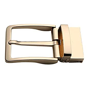 F Fityle Alloy Rotatable Belt Buckle Single Prong Square Leather Belt Buckle for Men, 4cm - Gold, 8x4cm