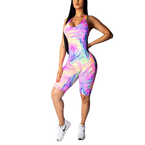 - Sherro Women's Sexy 1 Piece Outfits Deep V Neck Floral Print Bodycon Jumpsuit Rompers Pink