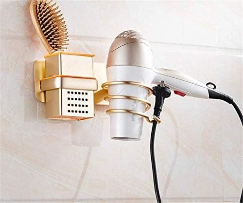 収納ラック棚 浴室の壁棚壁掛け式ヘアドライヤーラック収納オーガナイザーヘアドライヤースパイラルサポートホルダーゴールデンアルミ収納ラック 家のホテルの装飾のため