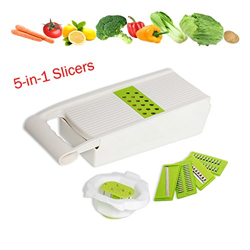 Mandoline Slicers Set, 5-in-1 Multi Graters Tool, Kitchen Slicing Tool with 5 Interchangeable Blades,Vegetable Food Slicers with Holder and Container, Easy to Use & Clean - Multi Slicer