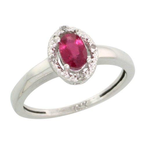 10k White Gold Oval Stone Ring w/ 0.04 Carat Brilliant Cut Diamonds & 0.58 Carat Oval Cut (6x4mm) Enhanced Ruby, Size 5