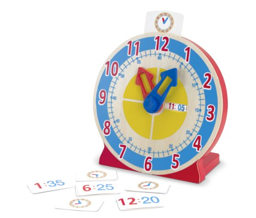 Melissa & Doug Turn & Tell Wooden Clock - Educational Toy With 12+ Reversible Time Cards (Clock Teaching Hands)