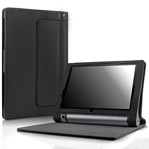 Lenovo Yoga Tab 3 10 Case - Infiland Folio Premium PU Leather Stand Cover Fit Lenovo Yoga Tab 3 10.1-Inch Tablet Only (Not Fit for Lenovo Yoga Tab 3 pro 10), Black