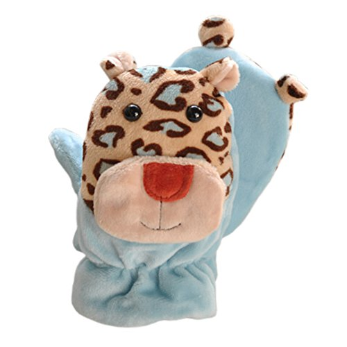 Cheap 1 Pair Kids' Winter Glove Villus Mittens Haling Hands(0-3 Years)Giraffe Blue for cheap