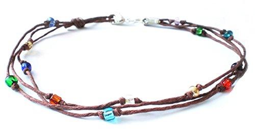 Brown Hemp Multicolor Glass Beaded Three String Anklet – Handmade