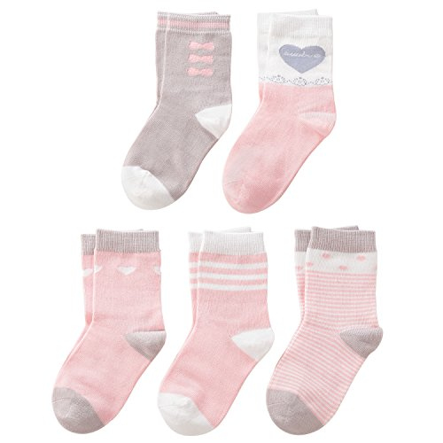 SUNBVE Little Girls' Sweet Fancy Cotton Casual Crew Socks 5 Pairs Pack by SUNBVE (Image #1)
