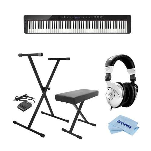 Casio PX-S3000 Privia 88-Key Slim Digital Console Piano with 700 Tones & 200 Rhythms, Black - Bundle With On-Stage KPK6520 Keyboard Stand/Bench Pack, Behringer HPS3000 HP Studio Headphones, Cloth by Casio