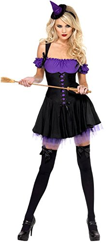 Fever Women's Wicked Witch Costume with Dress and Hat On Headband, Purple/Black, Small (Wicked Witch Dress)
