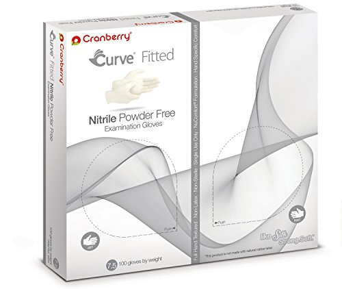 Cranberry USA CR3427case Curve Fitted Powder Free Exam Gloves, 7.5, Nitrile, Beaded-Cuff, White (Pack of 1000) by Cranberry USA