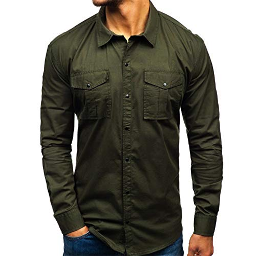 MIS1950s Men's Shirts Long Sleeve Comfy Pure Color Multi-Pocket Slim Fit Button Tops Tee ()
