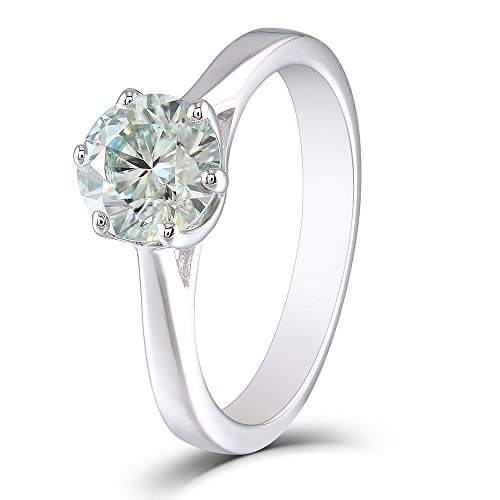 1ct 6.5mm Round Cut 2.6mm Band Width Lab Grown Moissanite Engagement Ring Platinum Plated Sterling Silver(7) - Moissanite Platinum