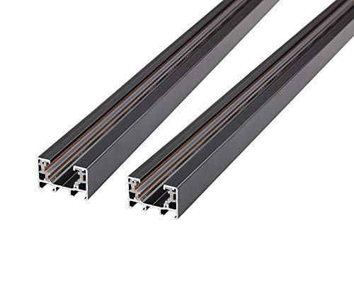 J.LUMI RAL3002 Track Rails, Linear Track Lighting Rails, Halo Track System, Single Circuit, Black Paint Finish, 3-Ft per Section (Pack of 2 Sections) ()