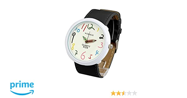 Amazon.com: ShoppeWatch Women Big Face Wrist Watch Unisex Black Band Easy Read Dial Reloj para Dama SW8329BKWH: Watches