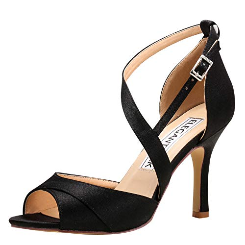 - ElegantPark HP1821 Women Open Toe High Heel Sandals Evening Prom Dress Bridal Wedding Shoes Strappy Satin Black US 6.5