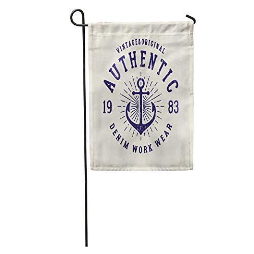 Semtomn Garden Flag Authentic Denim Retro for and Old School Graphic Traditional Nautical Home Yard House Decor Barnner Outdoor Stand 28x40 Inches Flag
