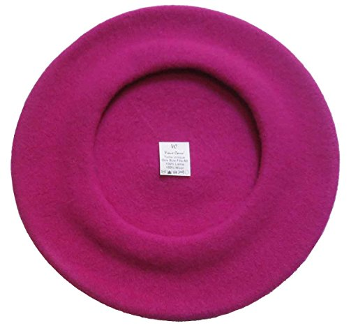 Vieux Carre Traditional French Wool Beret,Bright Raspberry