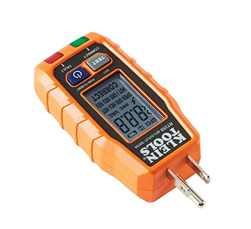 GFCI Receptacle Tester with LCD Display, for Standard 3-Wire 120V Electrical Outlets, Klein Tools RT250