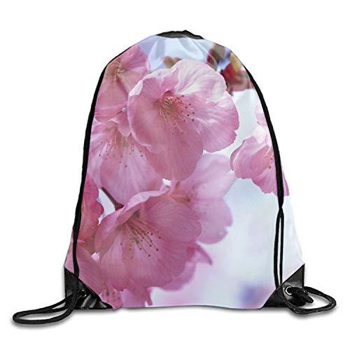 5a08b324a7f9 Sakura Flower Drawstring Tote Bag Travel Shoulder Daypack Portable Handbag