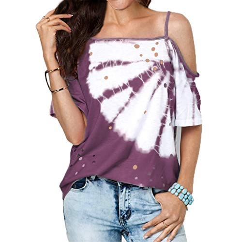 (Sunhusing Ladies Sexy Hollow Burnt Flower Broken Hole Oblique Neck Hanging Camisole Print Loose T-Shirt Purple)