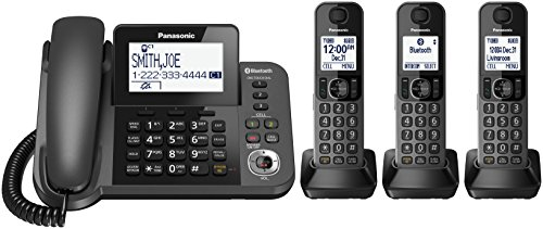 (PANASONIC Corded/Cordless Phone with Link2Cell Bluetooth and Answering Machine KX-TGF383M - 3 Handsets (Black))