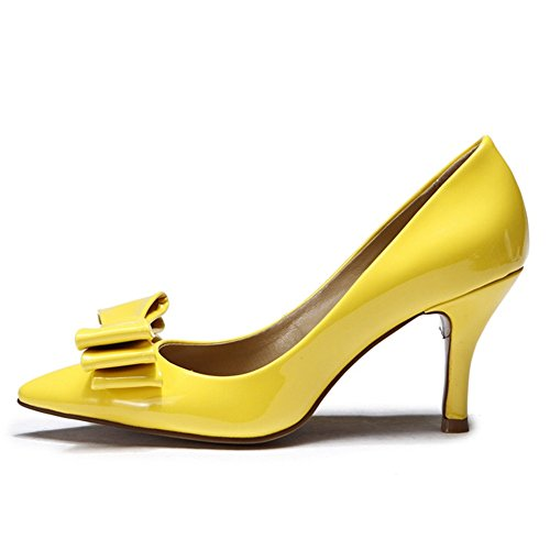 L amp; YC Shoes Wedding Fall High Heel PU Party Black for Summer Toe Pointed Evening Women's Yellow Heels 44qr6