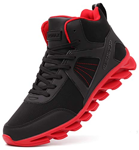 BRONAX High Top Basketball Shoes Leather Lace Up Gifts Tennis for Mens Youth Boys Sports Athletic Street Hightop with Ankle Support Zapatos de Basketball Hombre Red and Black Size 12